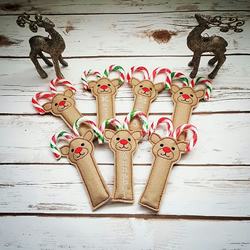 Reindeer Candy Cane Holder, Personalised Stocking Filler, Christmas eve box.