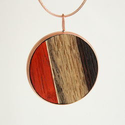 Handmade Wooden Pendant - Double Sided - With Necklace Chain