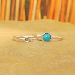 Personalised 5mm Turquoise December birthstone and initial stacking ring set
