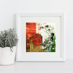 Digital Print of Original Abstract Painting in Vibrant Colours - Red Oasis