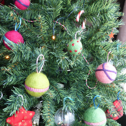 Needle felted Christmas Tree Baubles, set of 6