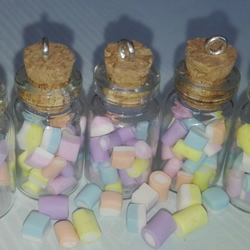 Mini Dolly Mixture Filled Glass Bottle Charms x5, Jewellery Making Supplies