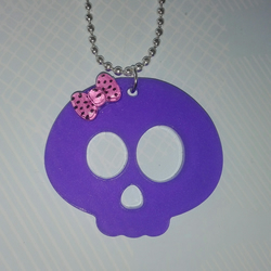 Kawaii Skull Pendant With Pink Bow, Lilac Laser Cut Acrylic, Ball Chain Necklace