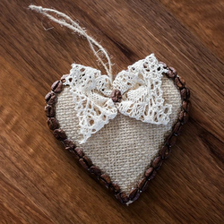 Home Decor, Wall Hanging, Heart Gift, Coffee Bean Heart