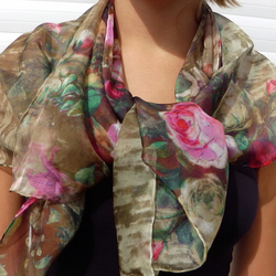 Silk Scarf, Ladies Scarf, Flower Pattern, Woodland and Roses