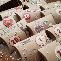 Rustic style Christmas Advent Calendar pillow boxes ,for sweets,gifts