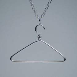 Handmade Sterling Silver Coat Hanger Pendant London Hallmarked