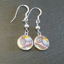 Paisley Dangly China Earrings