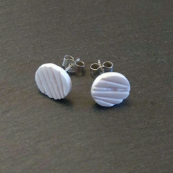 Simple White Stud China Earrings