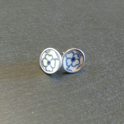 Blue Flower Stud China Earrings
