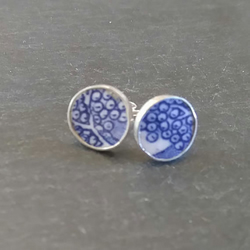 Blue Broken China Stud Earrings