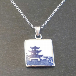 Blue Little Pagoda Broken China Pendant Necklace