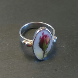 Unique Pink Rose Broken China Ring