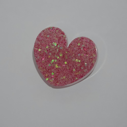 Pink and white love heart brooch pin