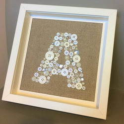 Button Initial on Linen Fabric - Made with Buttons and Embellishments