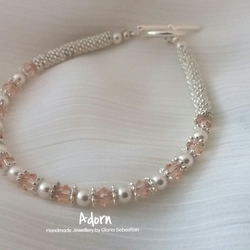 Silver plated peach Swarovski crystal and pearl bracelet