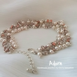 Peach glass and swarovski pearl beaded wedding, bridal cluster bracelet