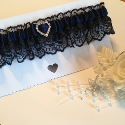 Plus size Navy blue wedding garter