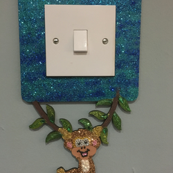 Sparkly cheeky monkey Light Switch Surround