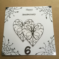 Large handmade Iron Wedding Anniversary card Happy 6th Anniversary