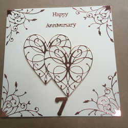Large handmade Copper Wedding Anniversary card Happy 7th Anniversary