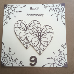 Large handmade pottery Wedding Anniversary card Happy 9th Anniversary