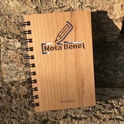Laser cut and engraved handmade notebook - Note Well