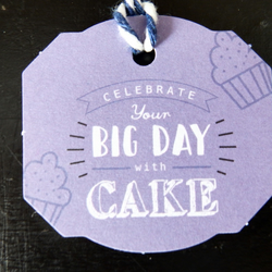 Celebrate your big day with cake birthday lilac gift tags