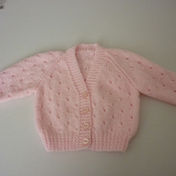 Pink hand knitted baby cardigan for 0-3 months