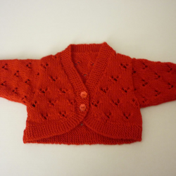 New hand knitted christmas red baby cardigan for 0-3 months