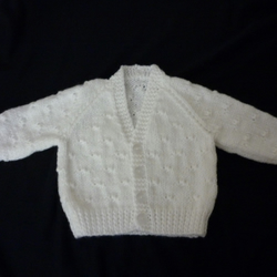 New hand knitted white baby cardigan for 0-3 months