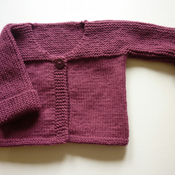 New hand knitted purple wine cardigan to fit 0-3 months