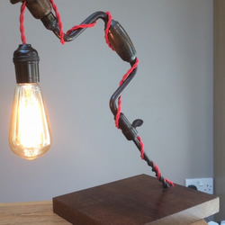 Repurposed brace and bit table lamp