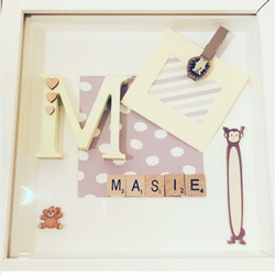 Handcrafted personalised childrens scrabble Art I Frames I Home Decor