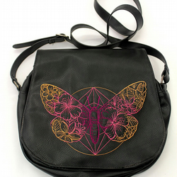 Butterfly faux leather Satchel Handbag , Black leatherette Cross Body Bag
