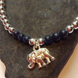 Sterling Silver Elephant Charm Stretch Bracelet with Lapis Lazuli Beads