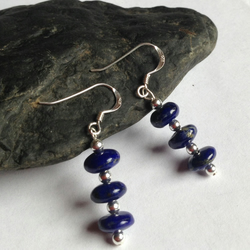 Lapis Lazuli Drop earrings with Sterling Silver Beads and Ear fittings, blue