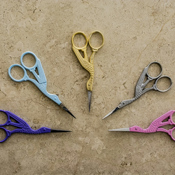 Vintage Style Stork Embroidery Scissors: Gold - Silver - Purple - Pink