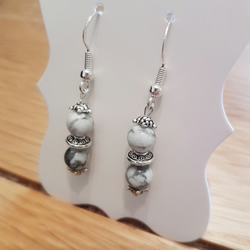 Semi precious Howlite gemstone earrings, Sterling silver