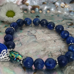 Lapis Lazuli and sterling silver, elasticated charm tassle bracelet