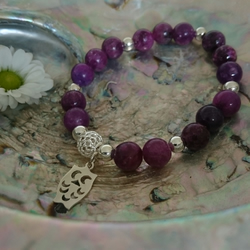 Lepidolite and sterling silver elasticated owl charm bracelet