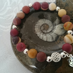 Sterling Silver and Mookait Gemstone elasticated Bracelet with Owl charm