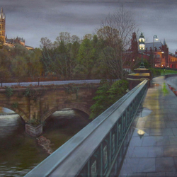 View from Partick Bridge, Glasgow. Art Print.