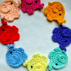 Cute elephant crochet appliques  A pack of 10    Custom orders welcome