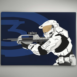 Halo 3 White Spartan Poster A3 Glossy