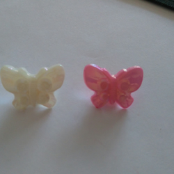 6 Pink - White Ablone coloured butterfly shaped buttons