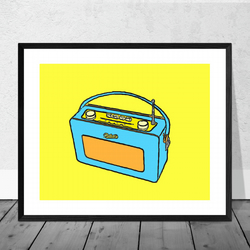 Blue Vintage Radio Print in 12 x 10 inch Mount