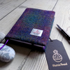 A6 Harris Tweed covered 2018 diary in deep purple green tartan. Day per page