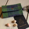 Harris Tweed keys wallet, small coin purse in pea green tartan