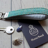 Harris Tweed key fob wrist strap in Turquoise green herringbone